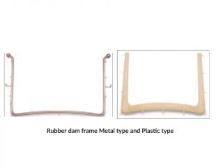 Rubber dam frame (a) Metal type (b) Plastic type